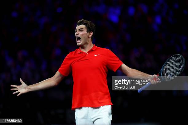 Taylor Fritz of Team World celebrates in his singles match against Dominic Thiem of Team Europe during Day Three of the Laver Cup 2019 at Palexpo on...