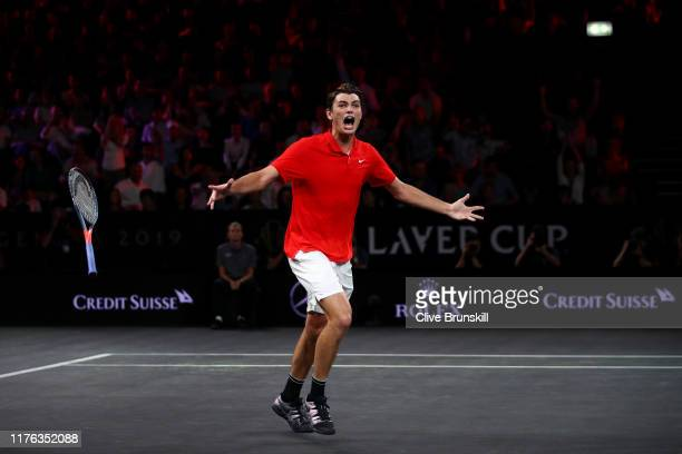 Taylor Fritz of Team World celebrates match point in his singles match against Dominic Thiem of Team Europe during Day Three of the Laver Cup 2019 at...