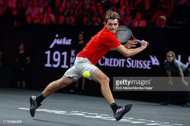 Taylor Fritz of Team World plays a backhand during Day 3 of the Laver Cup 2019 at Palexpo on September 22, 2019 in Geneva, Switzerland. The Laver Cup...