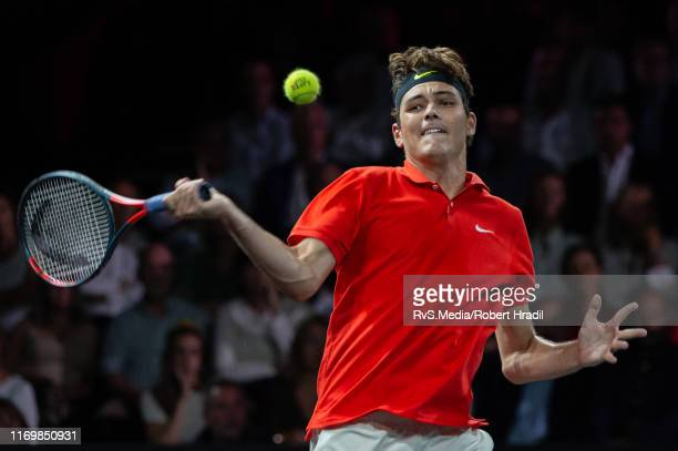 Taylor Fritz of Team World plays a forehand during Day 1 of the Laver Cup 2019 at Palexpo on September 20 2019 in Geneva Switzerland The Laver Cup...
