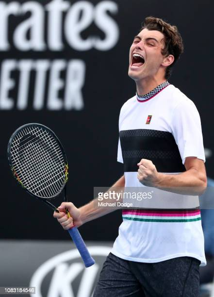 Taylor Fritz of the United States celebrates after winning match point in his second round match against Gael Monfils of France during day three of...