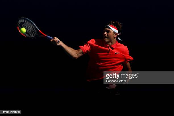 Taylor Fritz of the United States plays a forehand during his Men's Singles third round match against Dominic Thiem of Austria on day six of the 2020...