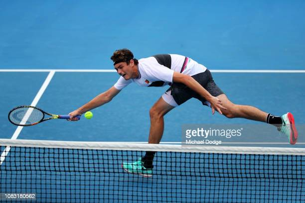 Taylor Fritz of the United States plays a forehand volley in his second round match against Gael Monfils of France during day three of the 2019...