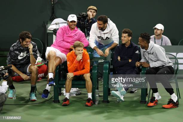 Taylor Fritz of the United States Rafael Nadal of Spain David Goffin of Belgium Marin Cilic of Croatia Dominic Thiem of Austria and Gael Monfils of...