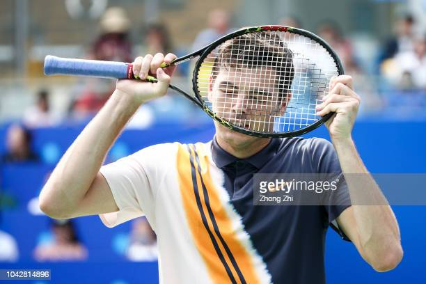 Taylor Fritz of the United States reacts during his semi final match against Fabio Fognini of Italy during 2018 ATP World Tour Chengdu Open at...