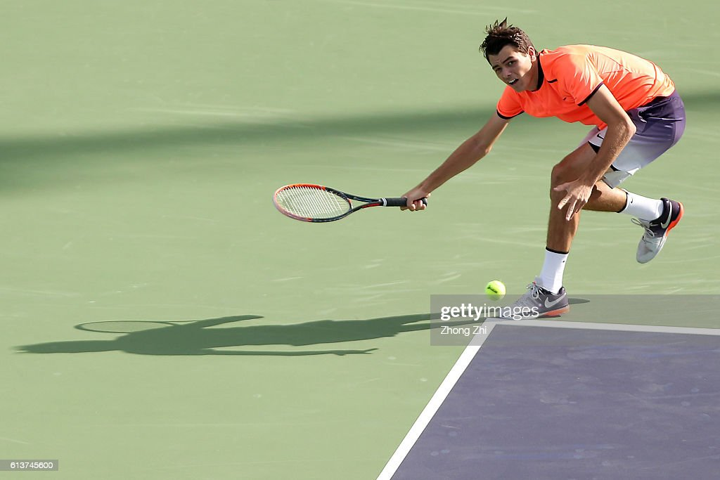 Taylor Fritz of the United States returns a shot during the match against Stephane Robert of France on Day 2 of the ATP Shanghai Rolex Masters 2016 at Qi Zhong Tennis Centre on October 10, 2016 in Shanghai, China.