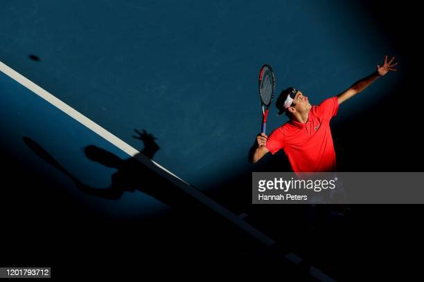Taylor Fritz of the United States serves during his Men's Singles third round match against Dominic Thiem of Austria on day six of the 2020...