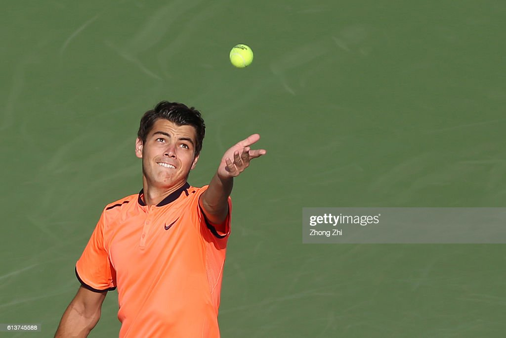 Taylor Fritz of the United States serves during the match against Stephane Robert of France on Day 2 of the ATP Shanghai Rolex Masters 2016 at Qi Zhong Tennis Centre on October 10, 2016 in Shanghai, China.