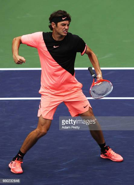 Taylor Fritz of the USA celebrates victory after his match against Andrey Rublev of Russia during the BNP Paribas Open at the Indian Wells Tennis...