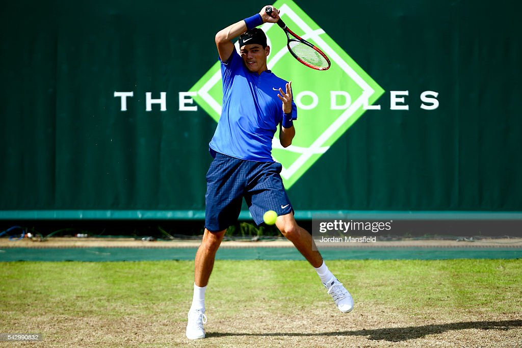 Taylor Fritz of the USA of the USA plays a forehand during his match against Robin Haase of the Netherlands during day five of The Boodles Tennis Event at Stoke Park on June 25, 2016 in Stoke Poges, England.