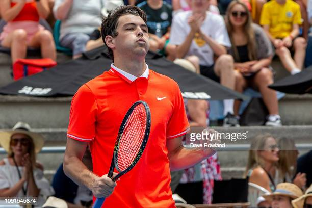 Taylor Fritz of United States celebrates defeating John Isner of United States in their singles match during the 2019 ASB Classic at the ASB Tennis...