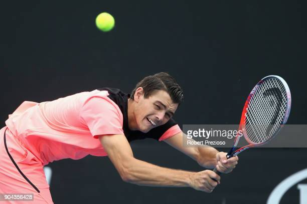 Taylor Fritz of United States competes in his second round match against Mathias Bourgue of France during 2018 Australian Open Qualifying at...
