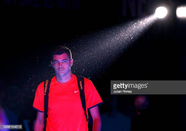 Taylor Fritz of USA arrives before his match against Andrey Rublev of Russia in the group stages during Day One of the Next Gen ATP Finals at Fiera...