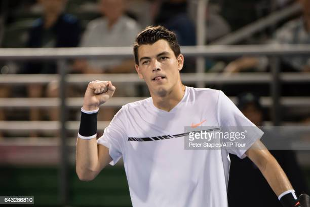 Taylor Fritz of USA celebrates his win against Akira Santillan of Japan at the Delray Beach Open on February 20 2017 in Delray Beach USA