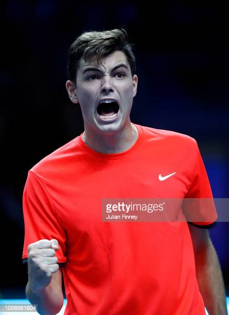Taylor Fritz of USA celebrates winning a set in his group match against Liam Caruana of Italy during Day Two of the Next Gen ATP Finals at Fiera...