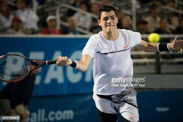 Taylor Fritz of USA in action during his win against Akira Santillan of Japan at the Delray Beach Open on February 20 2017 in Delray Beach USA