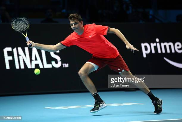 Taylor Fritz of USA in action in his group match against Liam Caruana of Italy during Day Two of the Next Gen ATP Finals at Fiera Milano Rho on...