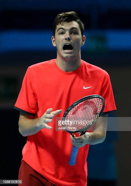 Taylor Fritz of USA reacts in his match against Andrey Rublev of Russia in the group stages during Day One of the Next Gen ATP Finals at Fiera Milano...