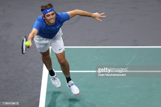 Taylor Fritz of USA returns a forehand in his match against Stefanos Tsitsipas of Greece on day 3 of the Rolex Paris Masters, part of the ATP World...