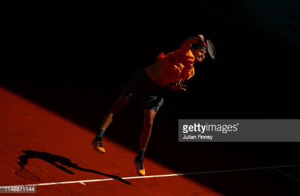 Taylor Fritz of USA serves to Nicola Kuhn of Spain during day one of the Mutua Madrid Open at La Caja Magica on May 04, 2019 in Madrid, Spain.