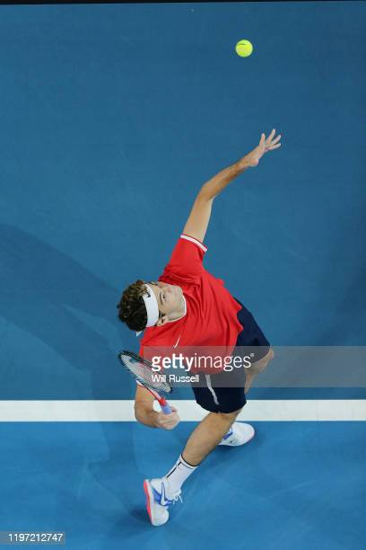 Taylor Fritz of USA serves to Viktor Durasovic of Norway in the mens singles match during day one of the 2020 ATP Cup Group Stage at RAC Arena on...
