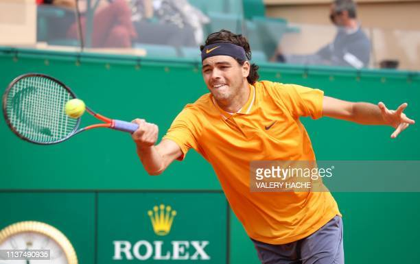 US Taylor Fritz plays a forehand return to France's JoWilfried Tsonga during their tennis match on the day 4 of the MonteCarlo ATP Masters Series...