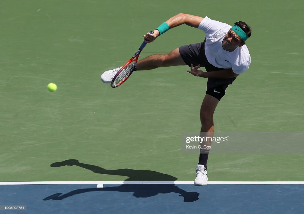 Taylor Fritz serves to Hyeon Chung of Korea during the BB&T Atlanta Open at Atlantic Station on July 25, 2018 in Atlanta, Georgia.