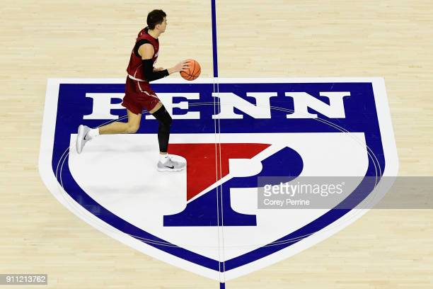 Taylor Funk of the Saint Joseph's Hawks brings out the ball against the Pennsylvania Quakers during the second half at The Palestra on January 27...