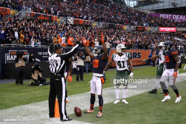 Taylor Gabriel of the Chicago Bears reacts after teammate Anthony Miller scored a touchdown against the New York Jets in thr third quarter at Soldier...