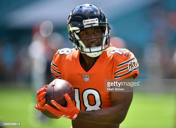 Taylor Gabriel of the Chicago Bears warming up before the game against the Miami Dolphins at Hard Rock Stadium on October 14 2018 in Miami Florida