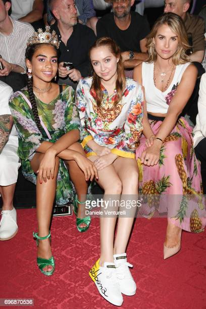 Taylor Giavasis Brandi Cyrus and Vogue Williams attend the Dolce Gabbana show during Milan Men's Fashion Week Spring/Summer 2018 on June 17 2017 in...