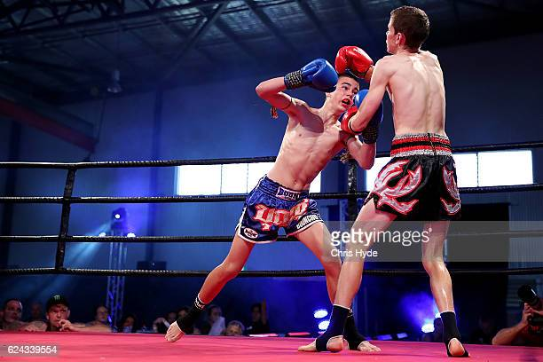 NOVEMBER 19 Taylor Girgis and Nick Swin fight during the Muay Thai fight in the Siam Junior show at Eagle sports complex on November 19 2016 in...