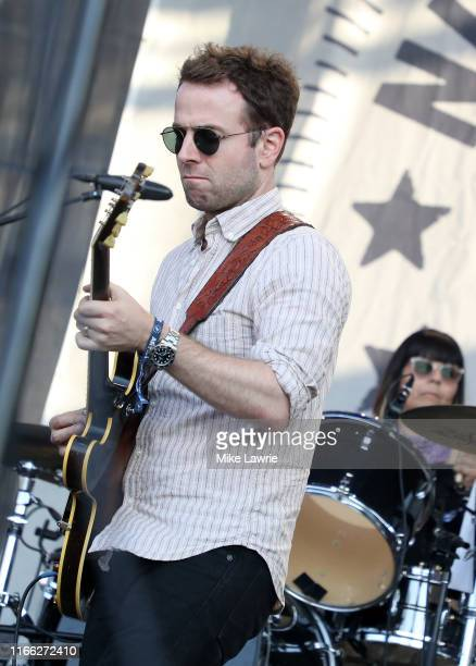 """Taylor Goldsmith of Dawes performs during the """"If I Had A Song"""" tribute set during day three of the 2019 Newport Folk Festival at Fort Adams State..."""