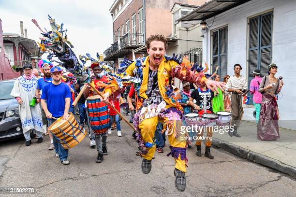Taylor Guarisco of GIVERS leads RAM Haiti in the second annual Krewe du Kanaval parade on February 22, 209 in New Orleans, Louisiana.