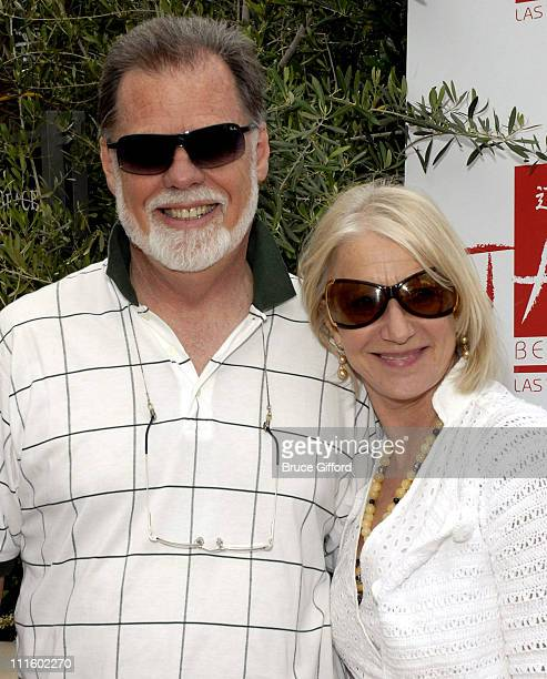 Taylor Hackford and Helen Mirren during Tao Beach Grand Opening at Tao in Las Vegas Nevada United States