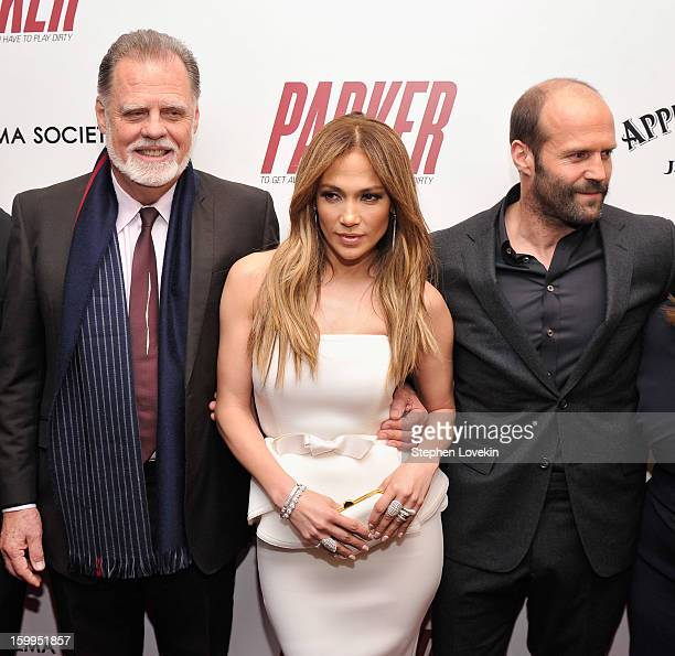 Taylor Hackford Jennifer Lopez and Jason Statham attend a screening of 'Parker' hosted by FilmDistrict The Cinema Society L'Oreal Paris and Appleton...