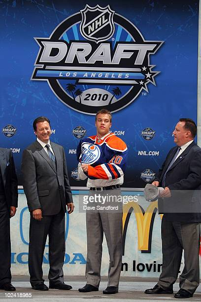 Taylor Hall drafted overall by the Edmonton Oilers puts on his jersy during the 2010 NHL Entry Draft at Staples Center on June 25 2010 in Los Angeles...