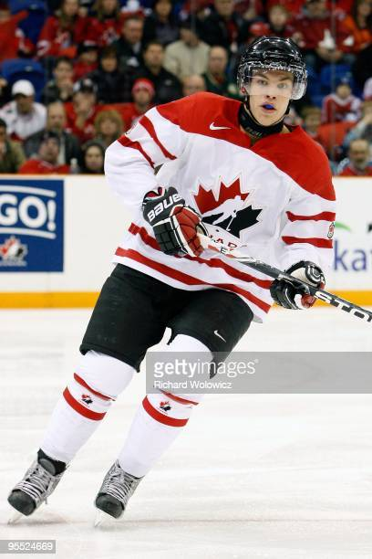 Taylor Hall of Team Canada skates during the 2010 IIHF World Junior Championship Tournament game against Team Slovakia on December 29, 2009 at the...