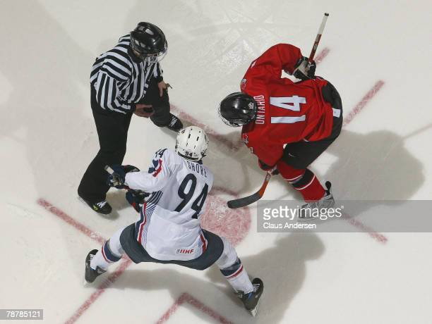 Taylor Hall of Team Ontario waits to take a faceoff against Drew Shore of Team USA in a game at the John Labatt Centre January 4, 2008 in London,...