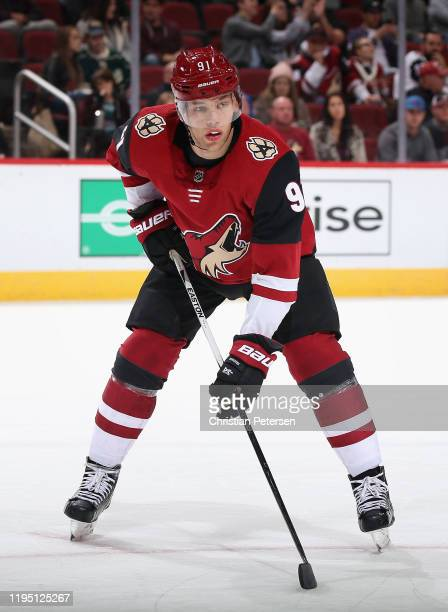 Taylor Hall of the Arizona Coyotes in action during the NHL game against the Minnesota Wild at Gila River Arena on December 19, 2019 in Glendale,...