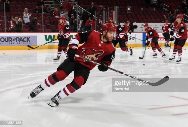 Taylor Hall of the Arizona Coyotes prepares for a game against the Florida Panthers at Gila River Arena on February 25 2020 in Glendale Arizona