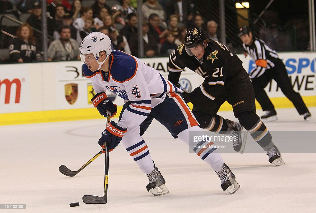 Taylor Hall #4 of the Edmonton Oilers at American Airlines Center on November 21, 2011 in Dallas, Texas.