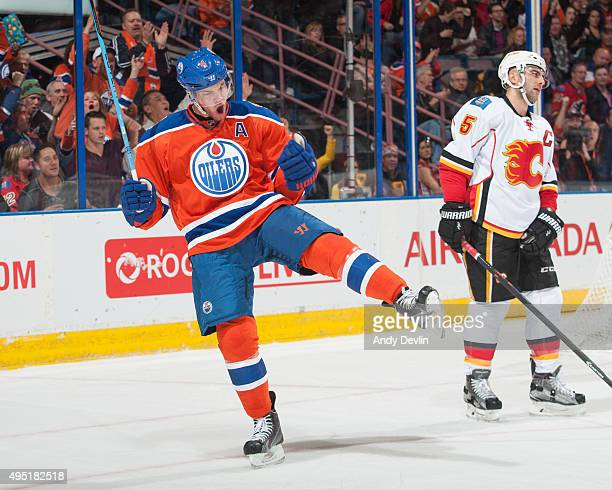 Taylor Hall of the Edmonton Oilers celebrates after a goal against the Calgary Flames on October 31 2015 at Rexall Place in Edmonton Alberta Canada