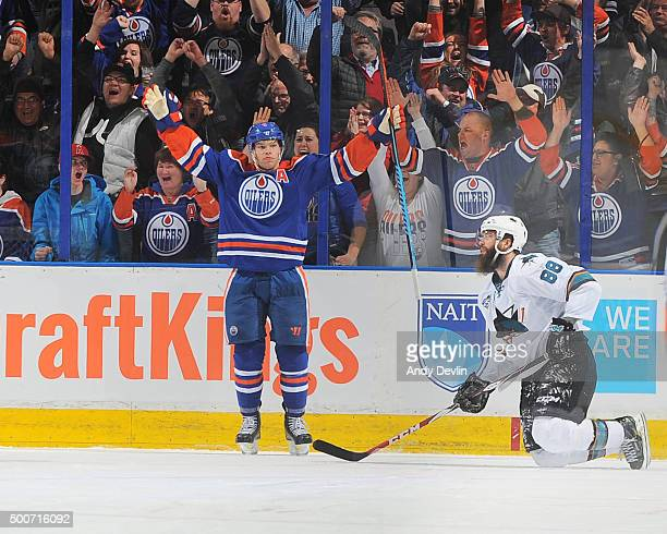 Taylor Hall of the Edmonton Oilers celebrates after scoring the winning goal in shoot out following the game against the San Jose Shark on December...