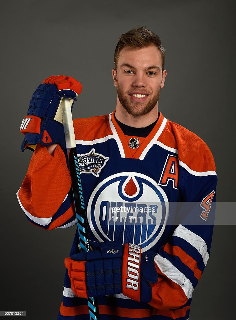 Taylor Hall #4 of the Edmonton Oilers poses for a 2016 NHL All-Star portrait at Bridgestone Arena on January 30, 2016 in Nashville, Tennessee.