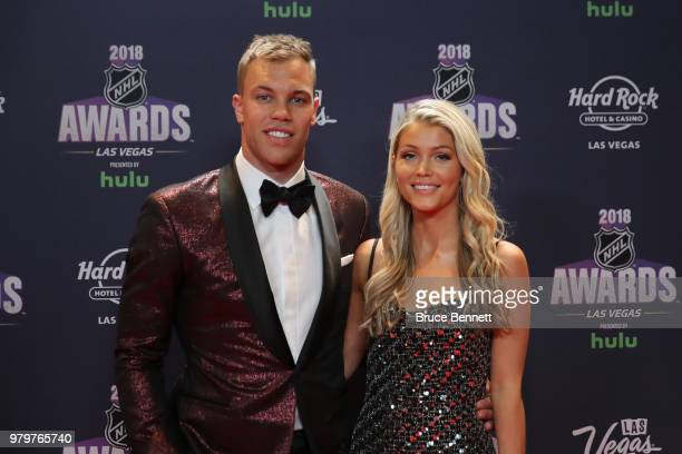Taylor Hall of the New Jersey Devils and guest arrive at the 2018 NHL Awards presented by Hulu at the Hard Rock Hotel Casino on June 20 2018 in Las...