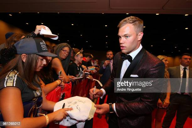 Taylor Hall of the New Jersey Devils arrives at the 2018 NHL Awards presented by Hulu at the Hard Rock Hotel Casino on June 20 2018 in Las Vegas...