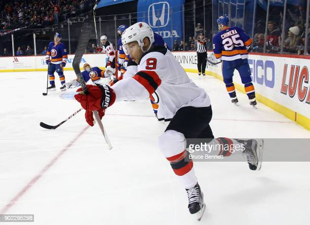 Taylor Hall of the New Jersey Devils celebartes his gal at 318 of the third period against the New York Islanders at the Barclays Center on January 7...
