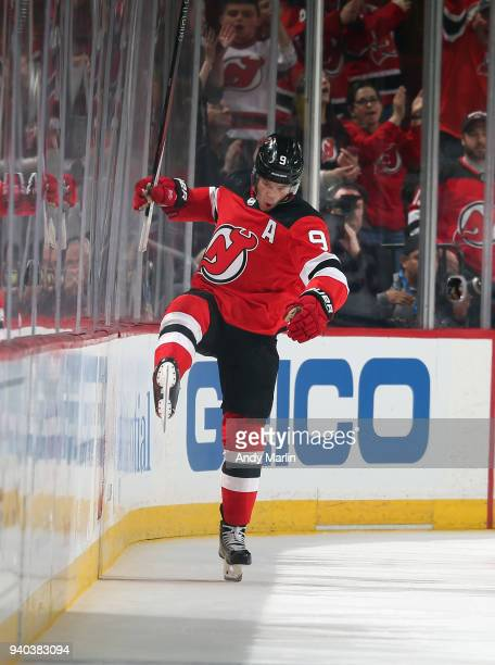 Taylor Hall of the New Jersey Devils reacs after scoring a secondperiod goal against the New York Islanders during the game at Prudential Center on...