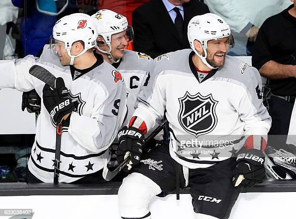 Taylor Hall of the New Jersey Devils Sidney Crosby of the Pittsburgh Penguins and Alex Ovechkin of the Washington Capitals react during the 2017...